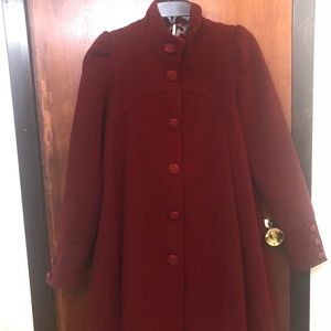 Red Free People Pleated Peacoat